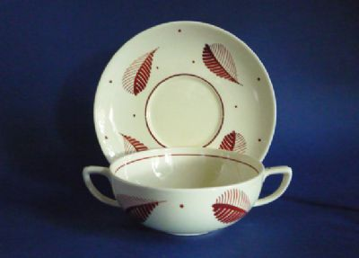 Susie Cooper Pottery Handpainted Purple/Brown 'Feather' Soup Bowl and Stand c1946 #1